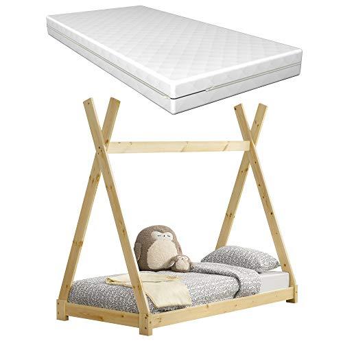 [Neu.Haus] Cama para niños con colchón Espuma fría 80 x 160 cm Adecuado para Personas alérgicas Textil de Confianza Certificado Oeko-Tex 100 Pino Natural