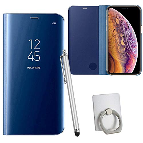Sangrl Hülle Für Xiaomi Mi 5C, Mode Ultra Dünn Handyhülle Schutz Löschen Clear View Mit Halterung Electroplating Flip Schutzhülle Hülle Für Xiaomi Mi 5C - Blau