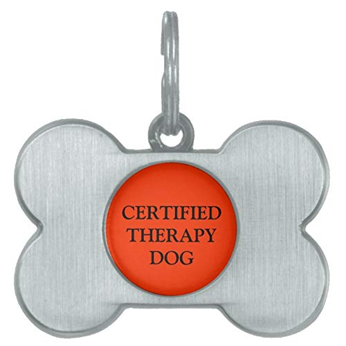 Stainless Steel Pet ID Tags, Certified Therapy Dog Tag, Dog Tags, Cat Tags, Bone Shaped ID Tag for Dogs and Cat