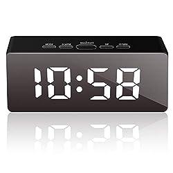 GLIME Digital Alarm Clock, Alarm Clocks for Bedrooms,LED Alarm Clock with Mirror Function,USB Port Charing,Battery Powered,Snooze,Temperature Display,Adjustable Brightness (Black)