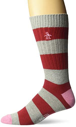 Original Penguin Men's Colorblock Dress Socks, Red, One Size