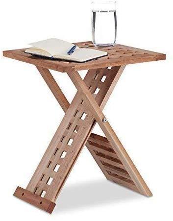Retro verstelbare bijzettafel, kantoor opklapbare bijzettafel opvouwbare salontafel nachtkastje vierkante tafelZHFZD, 33 * 33 * 40.5cm, BRON