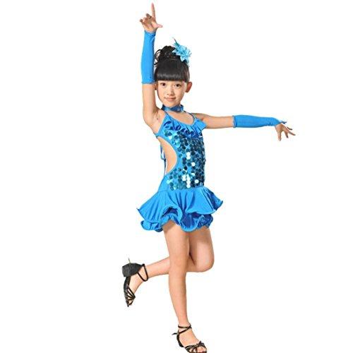 K-youth Ninas Borla Latino Vestido De Baile Vestido Danza Latina Niña Traje Baile Tango Salsa Deportivo Salón Ropa Niñas Lentejuelas Latín Practica Falda de Baile con Accesorios (Azul, 6-7 años)