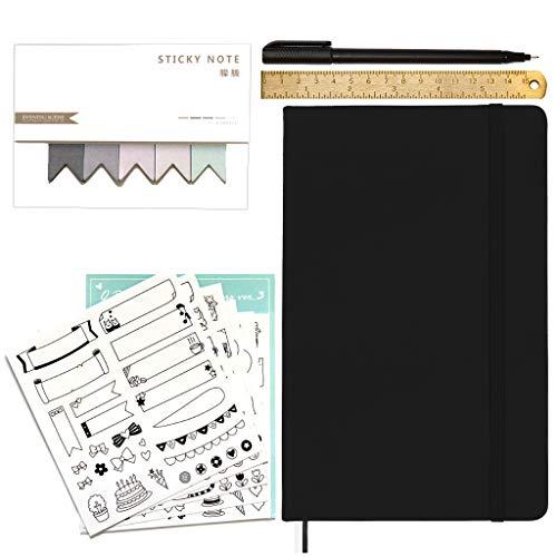 Stationery Island Cuaderno punteado A5 con accesorios - Set de Esenciales para Bullet Journal de Tapa Dura con Papel Premium de 120 gsm en Negro