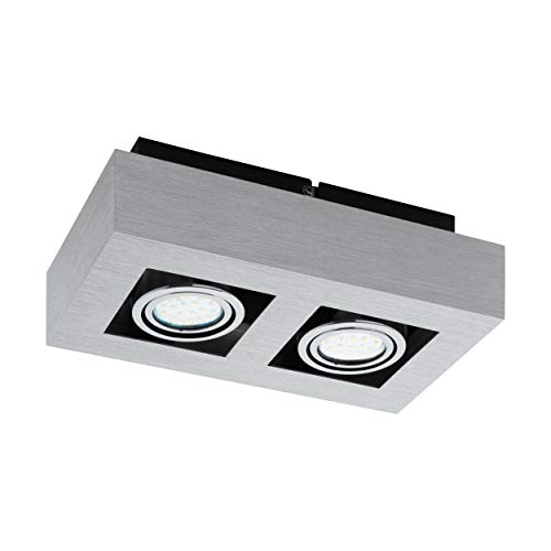 EGLO LED Deckenleuchte Loke 1, 2 flammige Aufbauleuchte aus Aluminium und Stahl, Deckenlampe in Gebürstet, chrom, schwarz, Aufbaulampe mit GU10 Fassung, LED Leuchtmittel inklusive, schwenkbar