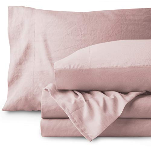Bare Home Washed King Sheet Set - Premium 1800 Ultra-Soft Microfiber Bed Sheets - Double Brushed - Hypoallergenic - Stain Resistant (King, Sandwashed Dusty Pink)