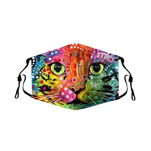 Bumplebee Kuh Mundmaske 3d, Waschbar Mundschutz mit Motiv Katze, Mehrweg Atmungsaktiv Stoff Bandana Halstuch Tuch, Mund und Nasenschutz