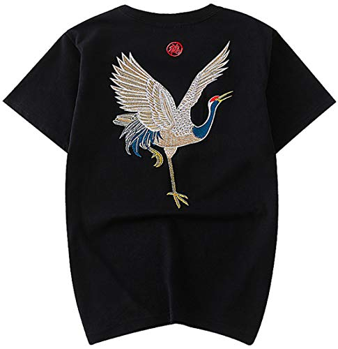 Chaos World Hommes Broderie T-Shirts à Manches Courtes en Coton Tops Tee Unisexe(Grue Noir,EU XL(Tag 2XL))