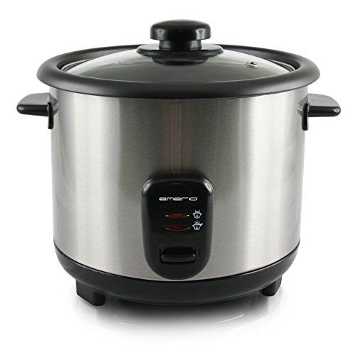Emerio Cuociriso, funzione di mantenimento del calore, rivestimento antiaderente, coperchio in vetro, cucchiaio da riso e misurino, slow cooker 1,5 l nero, acciaio inossidabile.