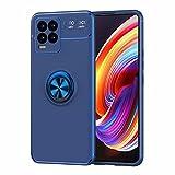 YIKLA Hülle für Oppo Realme 8 Pro/Realme 8, Weiche TPU Silicone Stoßfeste Handyhülle, 360 Grad Drehbarem Magnetische Ringhalter Schutzhülle, Blau