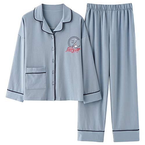 DFDLNL Pijamas de Mujer Pijamas Simples Ropa de salón Informal para niñas Top y Pantalones Ropa de Dormir Conjunto de Pijamas Suaves de algodón Ropa de hogar Informal L