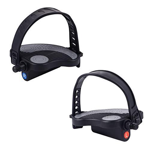 Homoyo - 1 par de pedales de bicicleta estática de plástico para bicicleta con correas para bicicleta de entrenamiento, Spin Bike (negro)