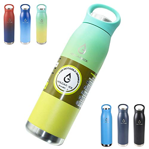 VOLCAROCK Insulated Stainless Steel Water Bottle 24oz- Dishwasher Safe BPA Free Vacuum Insulated Water Bottle wHandle Lid Keep Cold 24 HourHot 12 Hour Durable Leakproof and Sweat Free
