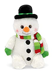 Image: Bearington Snowball Plush Stuffed Animal Snowman with Scarf, 6 inches