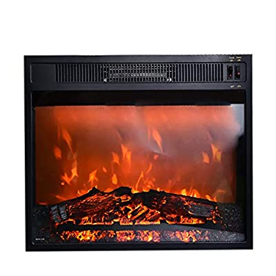 18 Inches Electric Fireplace Insert Recessed Fireplace Heater with Glass LED Flame Logs, Adjustable Power, 1500W, Black