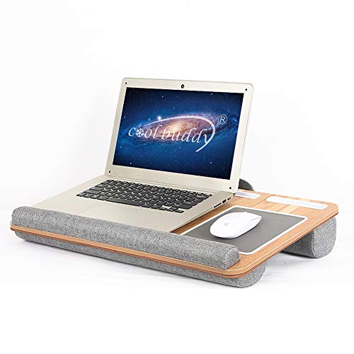 Lap Desk - COOLBUDDY Fits up to 17 inches Laptop Desk, Built in Mouse Pad & Wrist Pad for Notebook, MacBook, Tablet, Laptop Stand with Tablet, Pen & Phone Holder for Home Office Lap Desk … (Woodgrain)