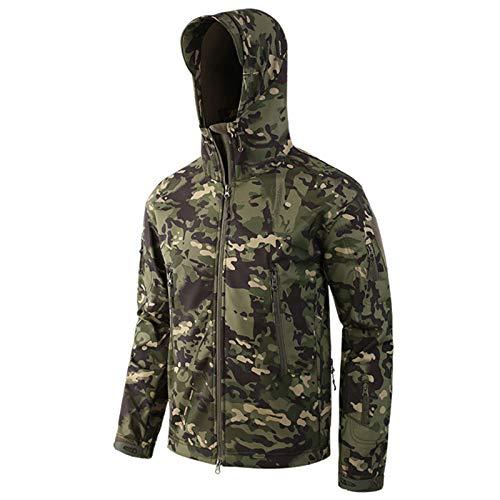 THWJSH Kurtka bojowa męska, sezon zimowy wojskowe kurtki airsoft, klasyczne kamuflażowe kurtki wędkarskie, odzież myśliwska softshell bluza z kapturem, na zewnątrz śnieg plaża sport 3 S
