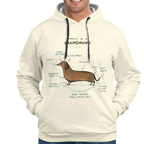 WJunglezhuang Herren Fashion Sweatshirts Hoodies Anatomie eines Dackels Kunstdruck Training Kapuzenpullover Sweatjacke Für Mädchen White l
