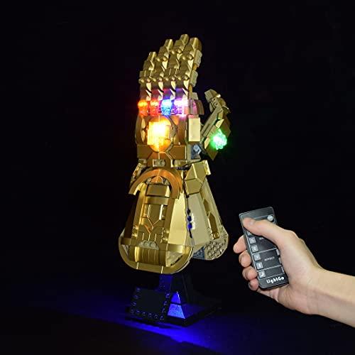 Gettesy Kit di illuminazione con Telecomando per Lego Super Heroes Marvel Guanto dell'Infinito di Thanos, Set di Luci Compatibile con Lego 76191 Modello (Non Incluso Set di Costruzioni)