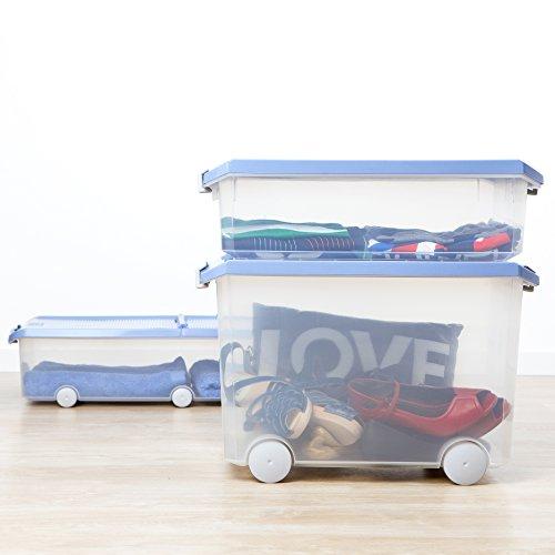 Tatay 1151107 Caja de Almacenamiento Multiusos bajo Cama Ruedas 63 l de Capacidad plástico Polipropileno Libre de bpa Transparente con Tapa, Azul, 45 x 77 x 18 cm