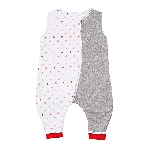 Gesslein 753167 Bubou Babyschlafsack mit Beinen für den Sommer: Temperaturregulierender Ganzjahreschlafsack, Baby Größe 110 cm, Sterne rot/grau/weiß