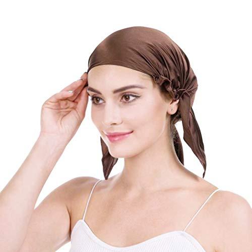 Emmet 100% Seide Schlafmütze Haarschönheit Nachtmütze Damen für Haarverlust Atmungsaktive Kappe,Kaffee,Einheitsgröße