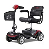 300W Compact Mobility Scooters for Adults -Electric Powered Mobile Wheelchair Device for Elderly- 18 in Width Seat - 4 Wheel - Red