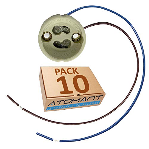 GU10 Pack 10 Portalamparas. Cable Extralargo 20cm. Material cerámica.