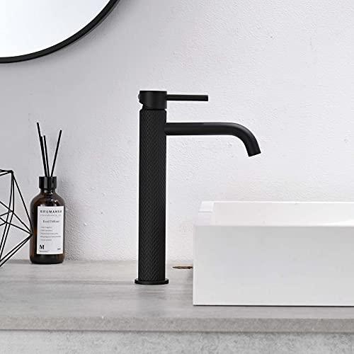 TIMACO Schwarz Wasserhahn Bad Waschtischarmatur Einhebel-Mischbatterie Badarmatur Waschbecken Badezimmer Kaltes und Heißes Wasser Vorhanden