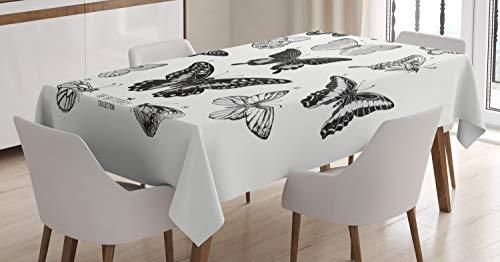 ABAKUHAUS Mariposa Mantele, Obra Realista Moderna, Estampado con la Última Tecnología Lavable Colores Firmes, 140 x 200 cm, Negro Gris y Blanco