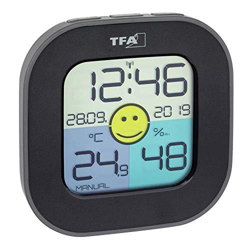 TFA Dostmann Digitales Thermo-Hygrometer FUN, inkl Funkuhr mit Datum, Smiley Komfortzonenindikator, zur Raumklimakontrolle, schwarz