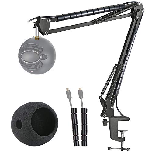 YOUSHARES Mic Stand with Foam Cover Windscreen - Microphone Boom Arm Stand and Pop Filter Compatible with Blue Snowball iCE Microphone