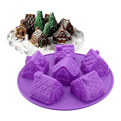 YSJJWDV Gummiform Silikon 3D Weihnachten Lebkuchen Haus Kuchenform Schokolade for Häuser Backen Werkzeuge Dekorieren Cookie Backformen Form