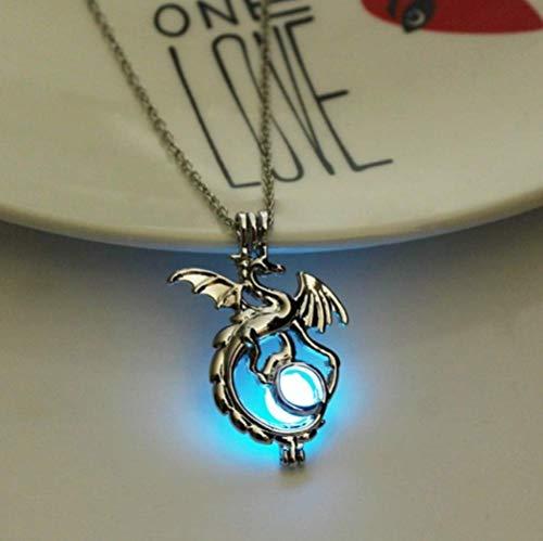 925 dames ketting sieraden, modieuze draak licht stenen ketting vrouwelijke mannen licht hanger ketting film TV lichtgevende decoratieve sieraden 1, s925 sterling zilveren ketting