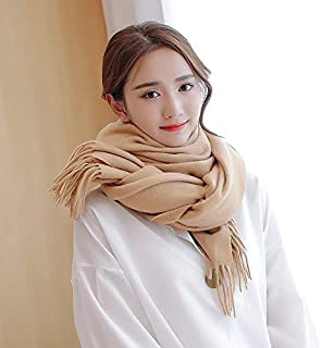 Winter Long Scarf Thick Warm Scarf Female Winter Wild England Solid Color Long Paragraph bib Large Shawl Dual-use Autumn and Winter (Color : Hot Pink) Winter Soft Scarf (Color : Khaki)