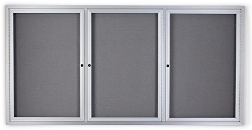 72 x 36 Inch Fabric Tack Board, 3 Locking Swing-Open Doors, 6 x 3 Foot Enclosed Bulletin Board for Wall Mount, Hardware Included - Silver Aluminum Frame with Light Gray Fabric