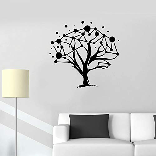 Tianpengyuanshuai Wandtattoo natürlichen Baum Muster geometrischen Vinyl Aufkleber Schule Klassenzimmer Studie dekorative Wandbild 42X23cm