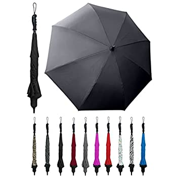 BETTERBRELLA Inverted Umbrella Windproof Waterproof Double Canopy Layer Compact and Reverse Folding for Car Travel and Outdoor Use Rain or Sun Shine Black
