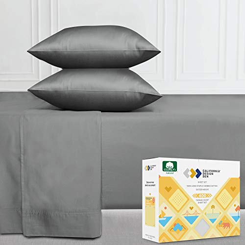 400 Thread Count California King Size Sheet Set (4 pc, Slate Grey) - Deep Pocket Cotton Bedsheets - Soft & Silky Sateen Weave, Long Staple and Summer Sheets