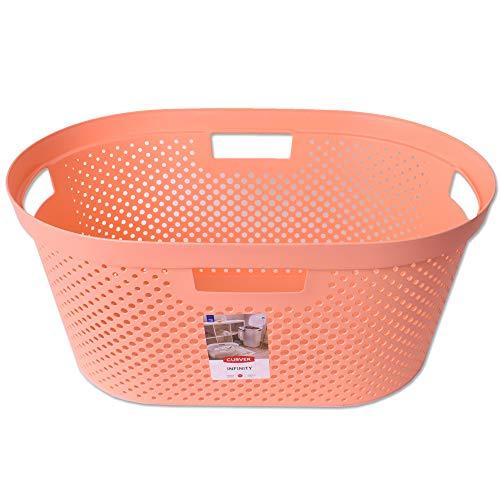 CURVER Wäschekorb Infinity Wäschesammler Wäschewanne Wäschesortierung Aufbewahrung Laundry Baskets 40L Peach Orange