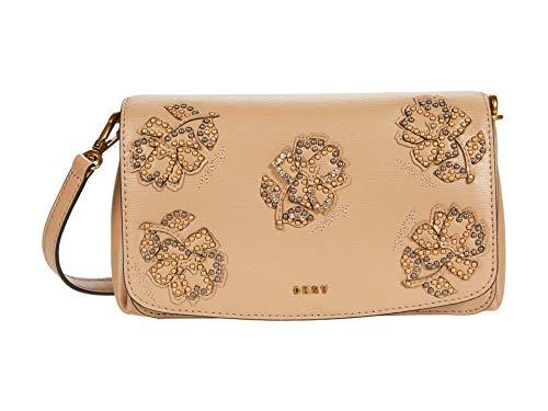DKNY Women's Paige Floral Leather Flap Crossbody Handbag Latte/Gold