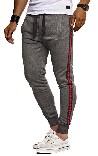 Leif Nelson Herren Hose Jogginghose Freitzeithose Trainingsanzug Fitness Trainingshose Chino Slim Fit LN8000; XXL; Anthrazit