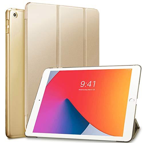 Sripns Hülle für iPad 8. Generation (2020)/7. Gen (2019),Ultra Dünn Leicht Ständer Schale Smart Cover mit Transluzent Rücken Deckel & Auto Schlaf/Wach Funktion für iPad 10.2 Zoll - Gold