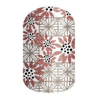 Blushing Dahlia - Jamberry Nail Wraps - Half Sheet - White, Black & Coral Red Geometric Floral