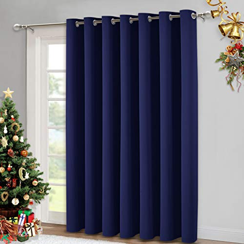NICETOWN Blackout Wide Sliding Door Curtains - Thermal Insulated Vertical Drapes, Privacy Vertical Blinds Window Treatments for Living Room and Bedroom (Navy Blue, W100 x L95 inches)