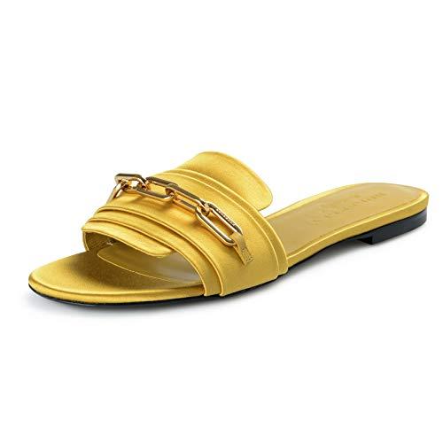 BURBERRY London Women's COLEFORD Antique Yellow Satin Leather Flip Flop Shoes Sz US 6.5 IT 36.5