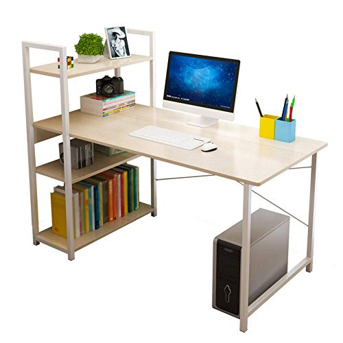 PN-Braes Escritorio de computadora simple escritorio escritorio hogar librería combinación simple moderna estudiante mesa de esquina para casa oficina hogar trabajo y estudio (tamaño: M; color: caqui)