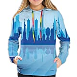 Photo de Women's Hoodies Tops,Silhouette of an American City with Various Landmarks Nevada Downtown,Lady Fashion Casual Sweatshirt,XL