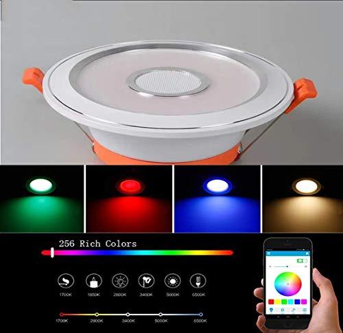 Cpippo Música de Techo empotrada, luminaria empotrada Ronda Blanco frío Altavoz Integrado Bluetooth Smartphone App lámpara de Temperatura de Color Ajustable RGB Dimmable LED,Oro
