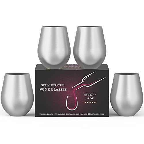 Stainless Steel Wine Stemless Glasses Set of 4, 18 oz | metal wine glasses 4 pack | Unbreakable,...